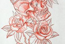 череп в розах
